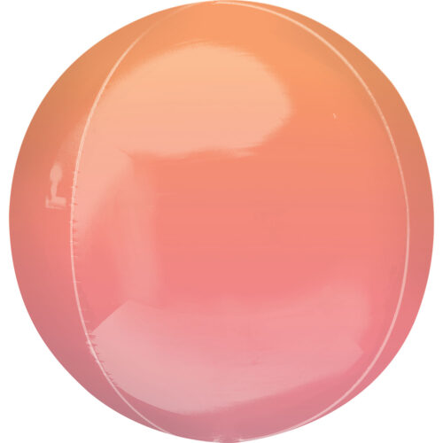 "Orbz Foil Balloon 15"" x 16"" Ombre Red and Orange"