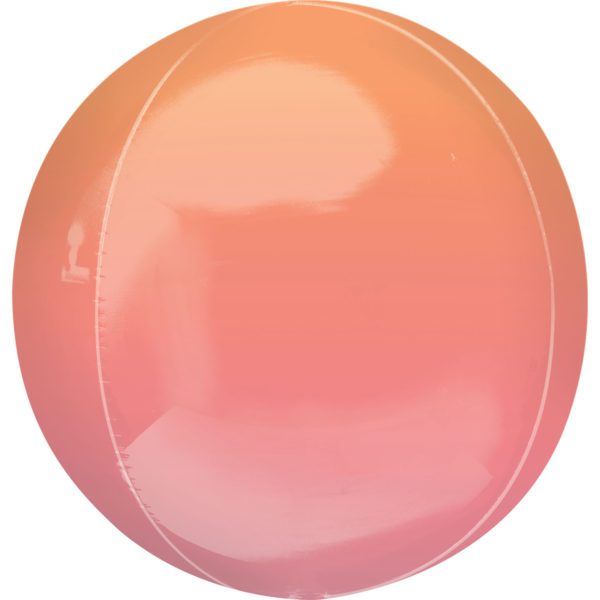 """Orbz Foil Balloon 15"""" x 16"""" Ombre Red and Orange"""