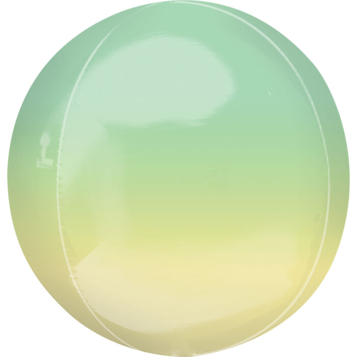 """Orbz Foil Balloon 15"""" x 16"""" Ombre Yellow and Green"""