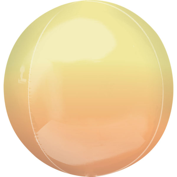 """Orbz Foil Balloon 15"""" x 16"""" Ombre Yellow and Orange"""