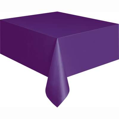 "Solid Rectangular Plastic Table Cover 54""x108"" Deep Purple"
