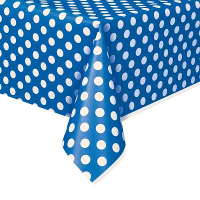 "Rectangular Plastic Table Cover 54""x108"" Royal Blue Dots"