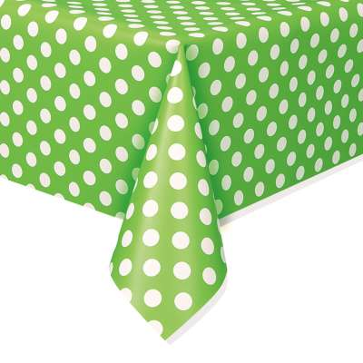 """Rectangular Plastic Table Cover 54""""x108"""" Lime Dots"""