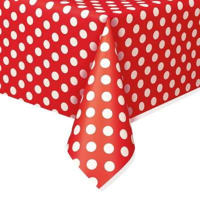 """Rectangular Plastic Table Cover 54""""x108"""" Ruby Red Dots"""