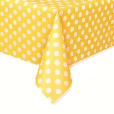 "Rectangular Plastic Table Cover 54""x108"" Sunflower Yellow Dots"