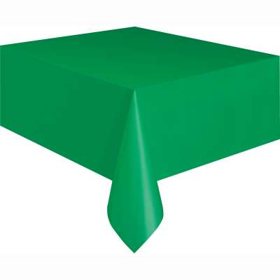 "Solid Rectangular Plastic Table Cover 54""x108"" Emerald Green"