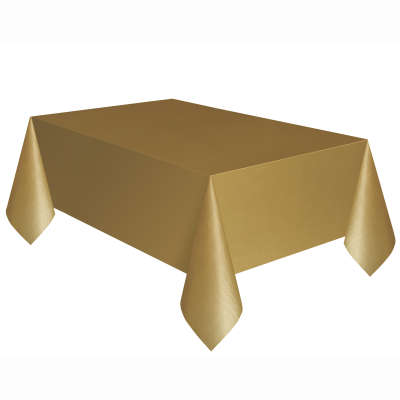 "Solid Rectangular Plastic Table Cover 54""x 108"" Gold"