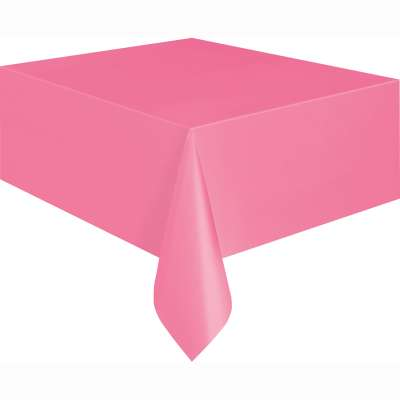 "Solid Rectangular Plastic Table Cover 54""x108"" Hot Pink"