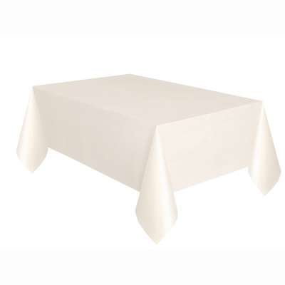"Solid Rectangular Plastic Table Cover 54""x108"" Ivory"