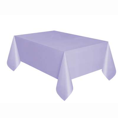"Solid Rectangular Plastic Table Cover 54""x 108"" Lavender"