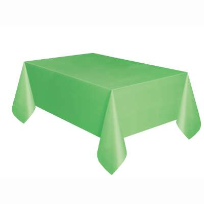 "Solid Rectangular Plastic Table Cover 54""x108"" Lime Green"