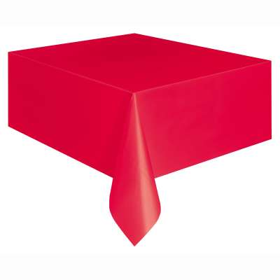 "Solid Rectangular Plastic Table Cover 54""x 108"" Red"