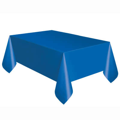 "Solid Rectangular Plastic Table Cover 54""x108"" Royal Blue"