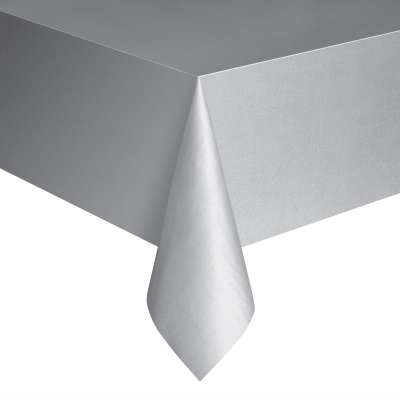 "Solid Rectangular Plastic Table Cover 54""x108"" Silver"