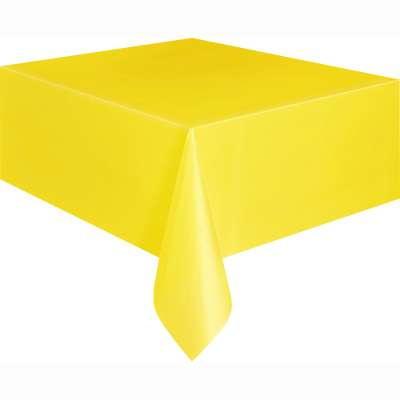 "Solid Rectangular Plastic Table Cover 54""x108"" Yellow"