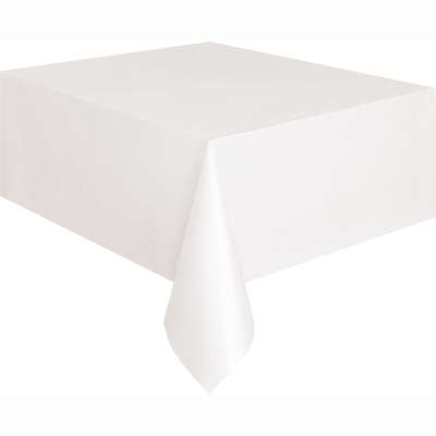"Solid Rectangular Plastic Table Cover 54""x108"" White"