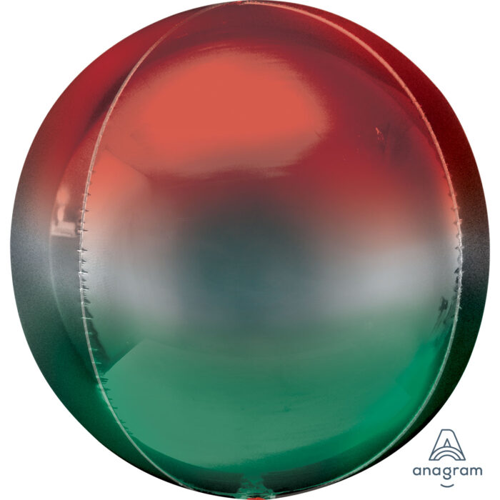 "Orbz Foil Balloon 15"" x 16"" Ombre Red and Green"