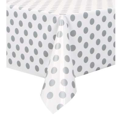"Rectangular Plastic Table Cover 54""x 108"" Silver Dots"