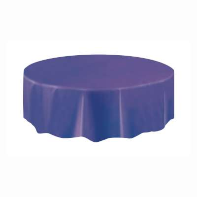 "Solid Round Plastic Table Cover 84"" Deep Purple"