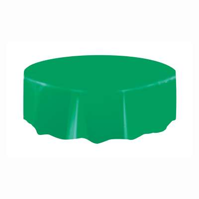 "Solid Round Plastic Table Cover 84"" Emerald Green"