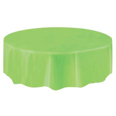 "Solid Round Plastic Table Cover 84"" Lime Green"