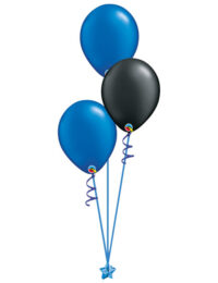 Set of 3 Latex Balloons Blue and Black