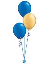 Set of 3 Latex Balloons Blue and Gold
