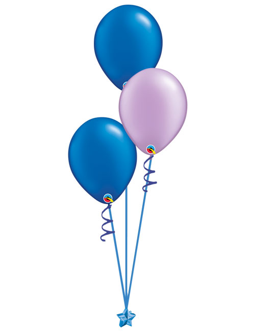 Set of 3 Latex Balloons Blue and Lavender