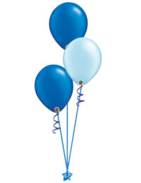 Set of 3 Latex Balloons Blue and Light Blue