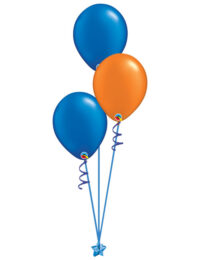 Set of 3 Latex Balloons Blue and Orange