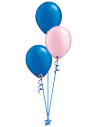 Set of 3 Latex Balloons Blue and Pink