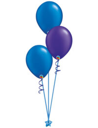 Set of 3 Latex Balloons Blue and Purple