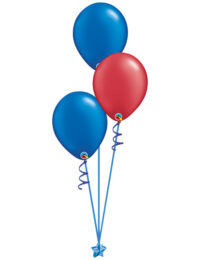 Set of 3 Latex Balloons Blue and Red
