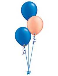 Set of 3 Latex Balloons Blue and Rose Gold
