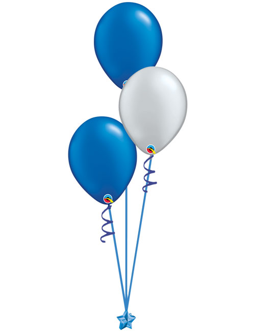Set of 3 Latex Balloons Blue and Silver