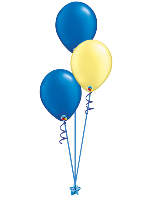 Set of 3 Latex Balloons Blue and Yellow