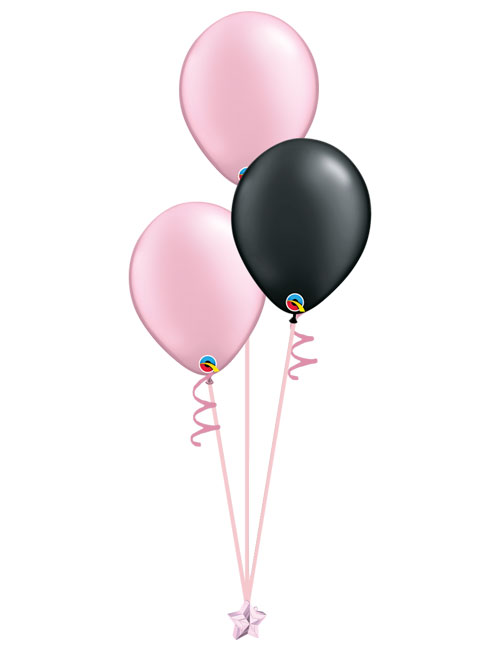Set of 3 Latex Balloons Pink and Black