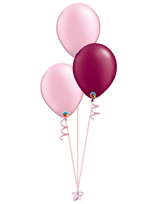 Set of 3 Latex Balloons Pink and Burgundy.