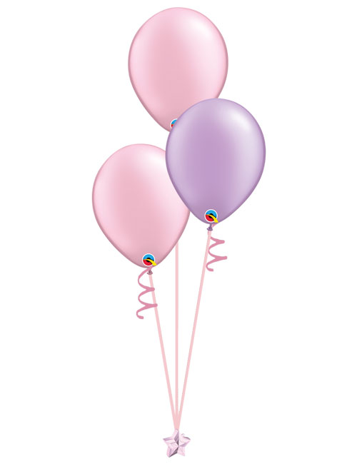Set of 3 Latex Balloons Pink and Lavender.