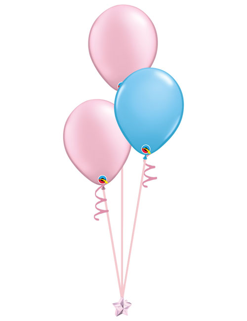 Set of 3 Latex Balloons Pink and Light Blue