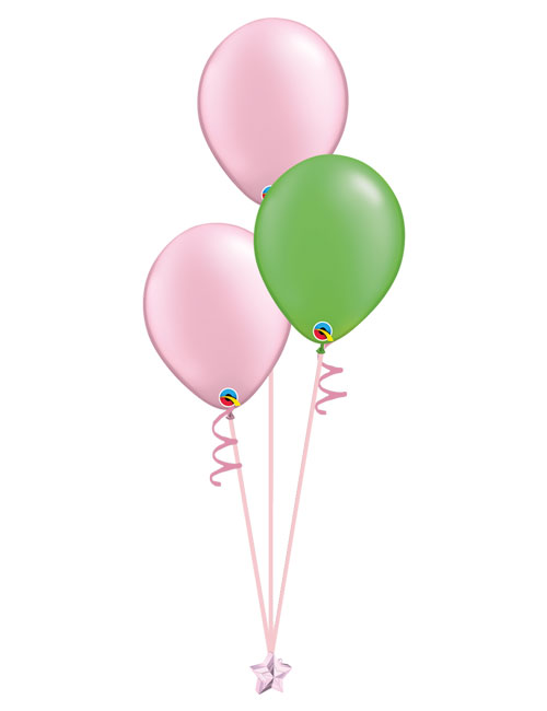 Set of 3 Latex Balloons Pink and Lime Green