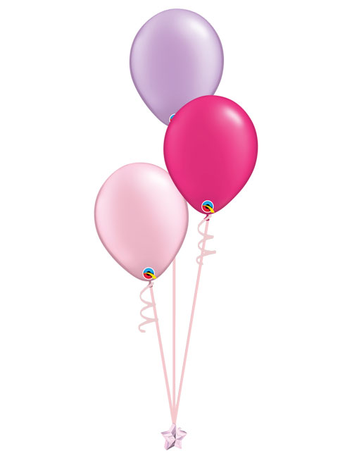 Set of 3 Latex Balloons Pink, Magenta and Lavender