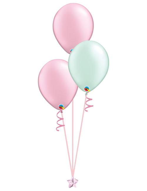 Set of 3 Latex Balloons Pink and Mint