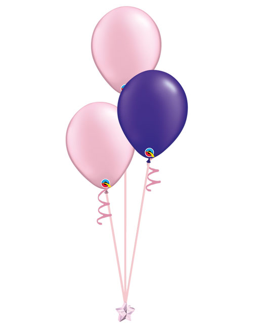 Set of 3 Latex Balloons Pink and Purple.