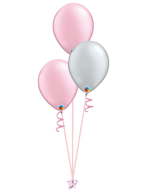 Set of 3 Latex Balloons Pink and Silver