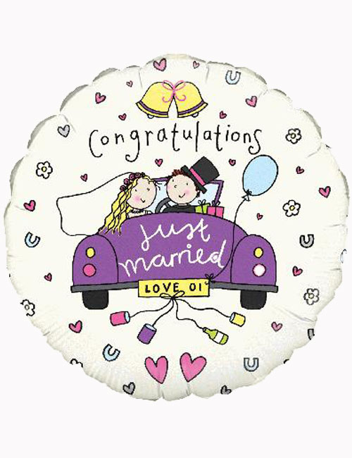 "18"" Congratulations Just Married Balloon"
