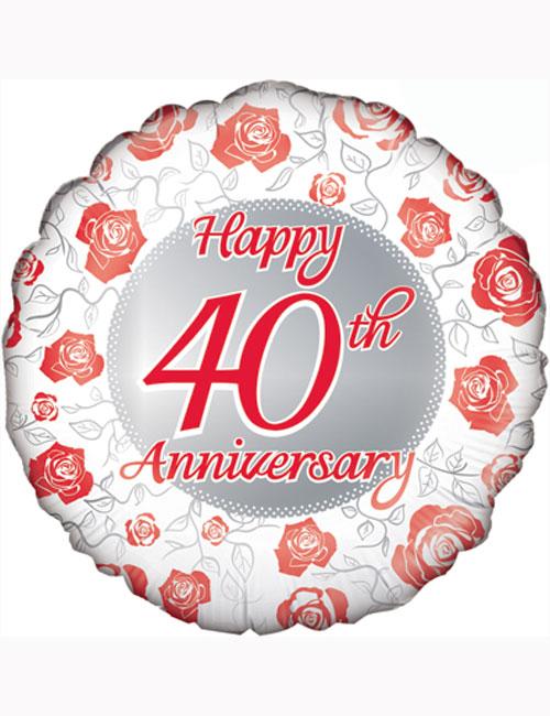"18"" Happy 40th Anniversary Balloon"