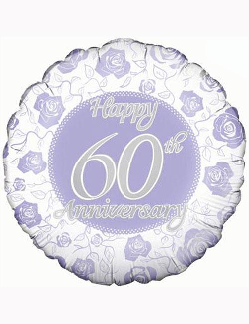 "18"" Happy 60th Anniversary Balloon."