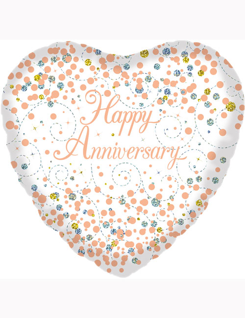 """18"""" Sparkling Fizz Happy Anniversary White and Rose Gold Holographic"""