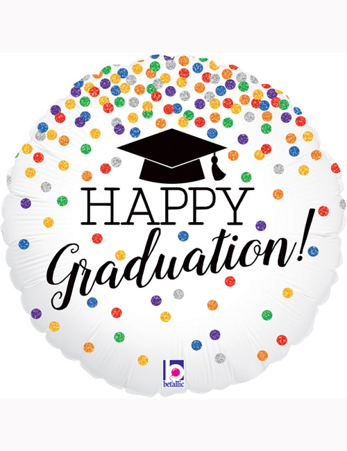 "18"" Happy Graduation Confetti Holographic Balloon"